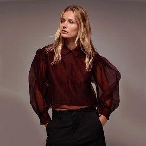 NWT Zara burgundy organza wool blend sweater top